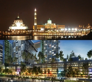 COMPARABLE: Putrajaya night scene (top) and Cyberjaya's planned Sky Park (bottom)